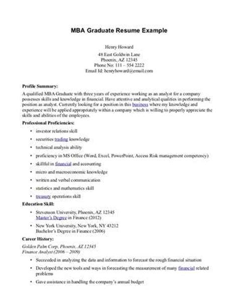 Exle Of Mba Resume by Mba Graduate Resume Exle