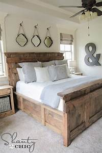 DIY King Size Bed Free Plans - Shanty 2 Chic