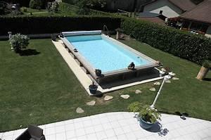 Piscine Semi Enterrée Coque : piscine acier et bois rectangulaire 8m x 4m avec bloc filtrant ~ Melissatoandfro.com Idées de Décoration