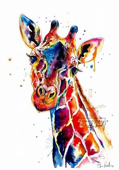 Giraffe Watercolor Painting Colorful