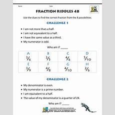 Free Printable Fraction Worksheets  Fraction Riddles (harder
