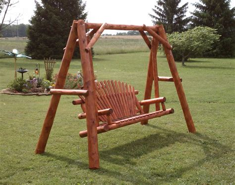 porch swing with stand white cedar stained seat swing w stand