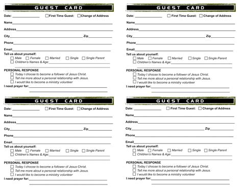 church visitor card template creating our church from scratch