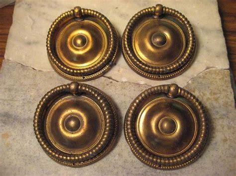 4 Antique Round Brass Drop Ring Style Drawer Pulls   2 1/2