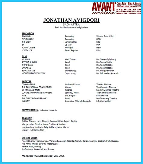 Resume For by Amazing Actor Resume Sles To Achieve Your