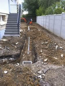 terrassement avant coulage d39une dalle beton puis terrasse With realisation dalle beton terrasse