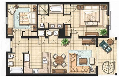 two floor bed 2 bedroom 2 bath cottage plans two bedroom presidential suite pool house plans pinterest