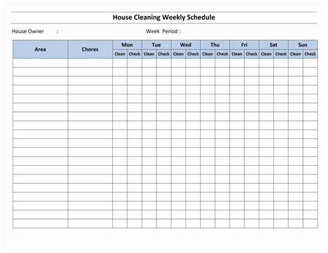 Cleaning Schedules Templates by Cleaning Schedule Template House Cleaning Schedule