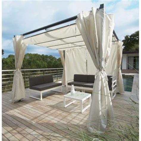 tonnelle carree rome toit retractable avec rideaux ecru   rideaux tonnelle pergola
