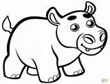 Coloring Cute Hippo Hippopotamus Baby Clipart Pages Printable Cartoon Animals Drawing Preschool Paper Webstockreview Categories sketch template