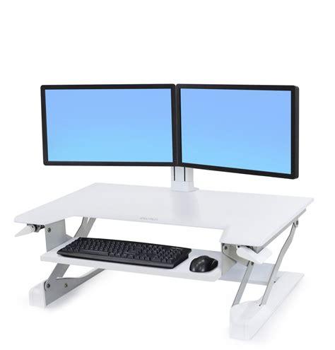 dual monitor stands for desktop ergotron ed wft d2m dual monitor sit stand desktop workstation