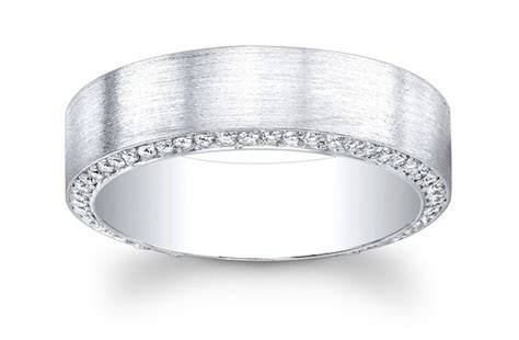 platinum mens wedding band with pave diamonds