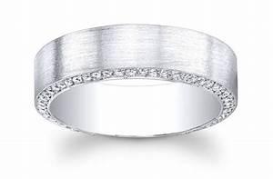 Platinum Mens Wedding Band With Pave Diamonds