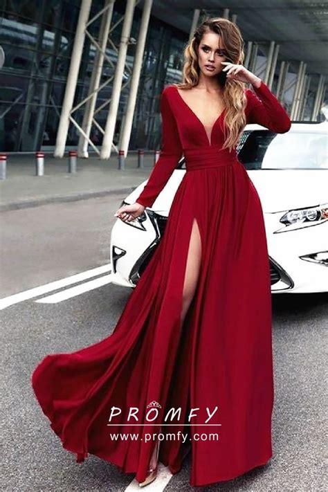 crimson red satin chiffon long sleeve side slit   long prom dress promfycom