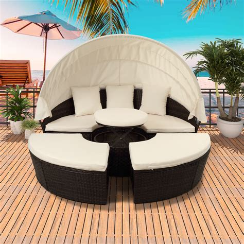 Bring your outdoor space to life with the latest outdoor tvs, grills, outdoor audio, patio furniture and more. Patio Daybed, 5 Piece Patio Furniture Sets, Round Wicker Daybed with Retractable Canopy, All ...