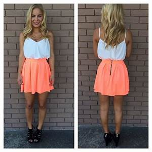 Neon Coral Skater Skirt from Dainty Hooligan