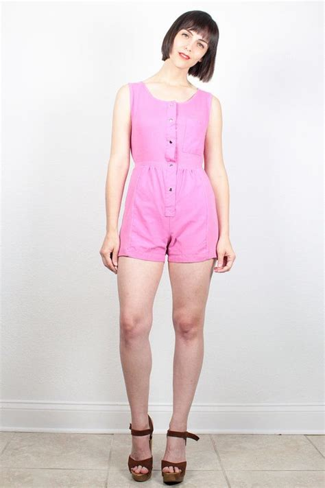 Vintage Pink Romper 1980s Playsuit Ribbed Overall Shorts Jumper New Wave 80s Romper Coveralls ...
