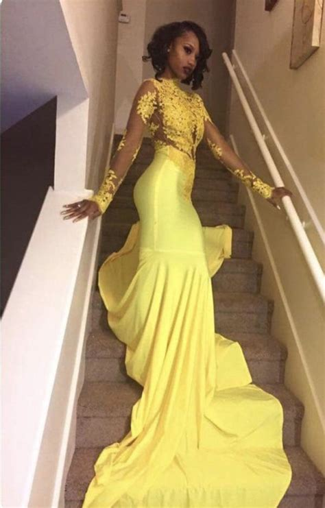 Sexy Mermaid Prom Dresses Long Sleeves Appliques Lace ...
