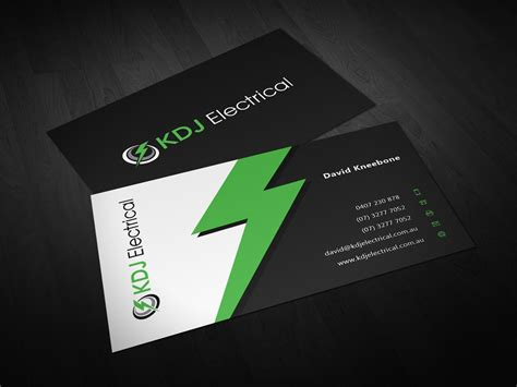 Business Business Card Design For Kdj Electrical By Eggo Staples Standard Business Card Size Clean Edge Stock Cfa Rules Visiting In Mm For Cm Home Bakery Sample Bookkeeper Avery