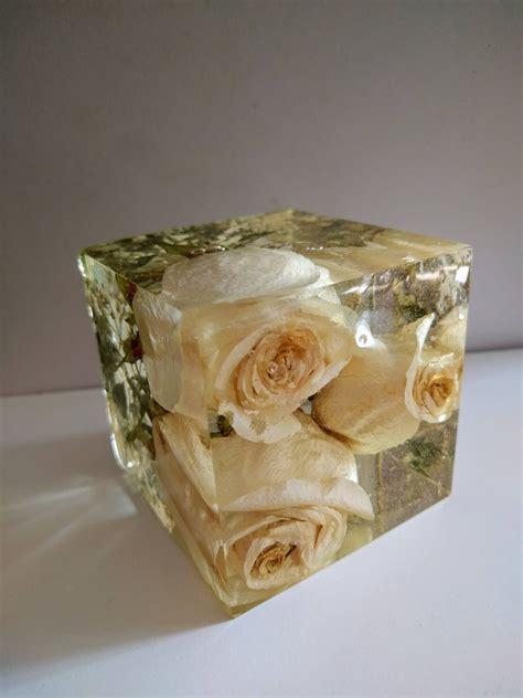 wedding flowers  cube keepsake paperweights resin