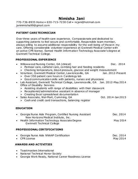 astonishing patient care tech resume sle resume sle