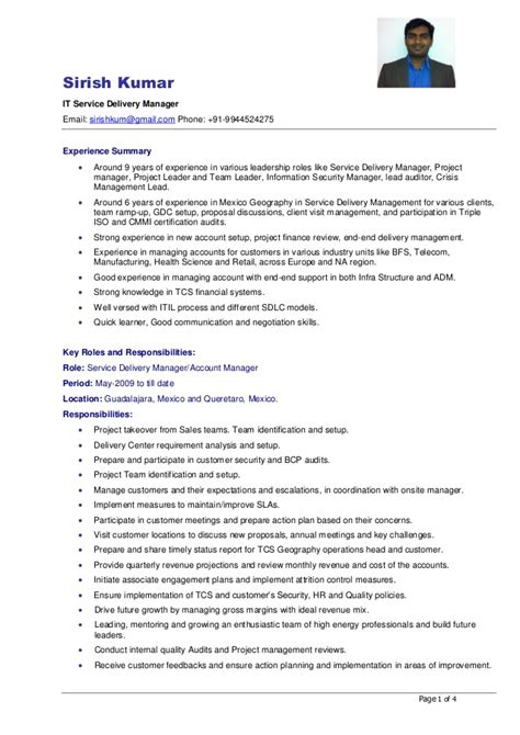 Software Delivery Manager Resume Sle by Service Delivery Manager Resume Sle 28 Images Service