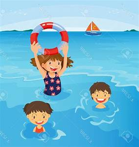 Kids Swimming In A Pool Clipart