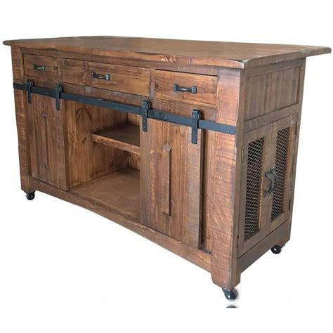 artisan home parota industrial solid wood kitchen island