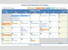 Print Friendly October 2018 US Calendar for printing