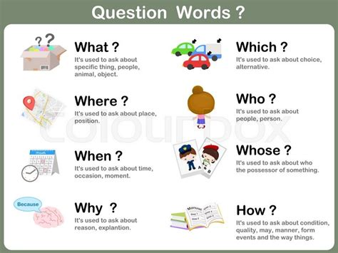 worksheet question word flashcards stock vector