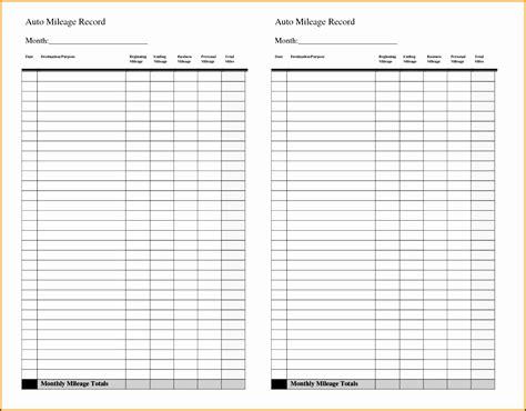 Mileage Calendar Template by 5 Vehicle Mileage Log Maker Sletemplatess