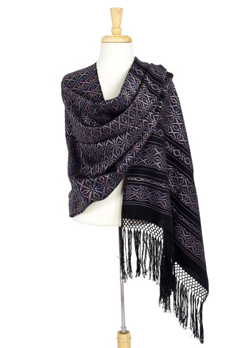 Cotton Rebozo Mexican Shawl with Multicolor Flowers on ...