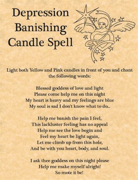 light magic spells depression banishing candle spell book of shadows page