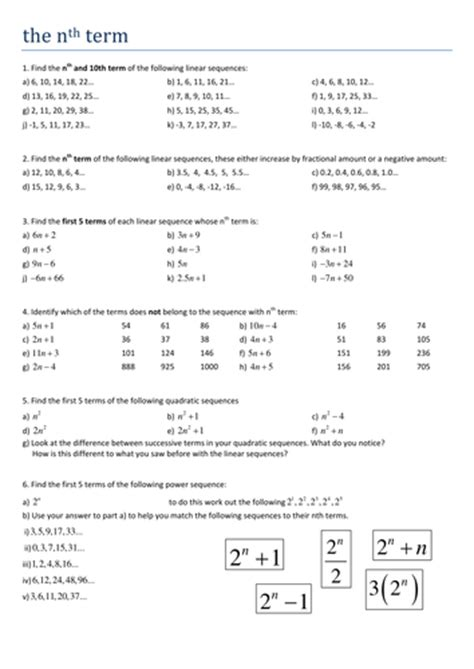 maths ks4 the nth term worksheet by tristanjones