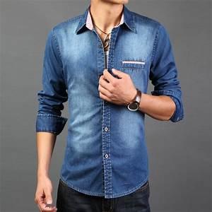 2016 High Quality Long Sleeve Denim Shirts Men Casual Shirt Fashion Slim Mens Jeans Shirts Plus ...
