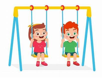 Swing Play Boy Happy Cartoon Kid Freepik
