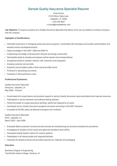 resume quality assurance specialist sle quality assurance specialist resume resame resume
