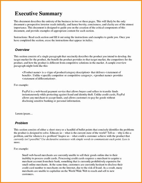 resume executive summary sle inspiration decoration