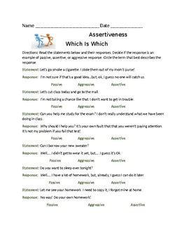 Passive Aggressive Assertive Worksheet Livinghealthybulletin