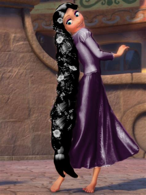 With Black Hair by Rapunzel With Purple Dress And Black Hair And Blue