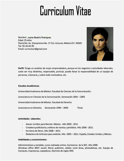 Curriculum Vitae Ejemplos En Espanol  Resume Template. Letterhead Microsoft Word. Cover Letter How To Write Uk. Cover Letter Travel Writer. Address Cover Letter To Human Resources Or Supervisor. Cover Letter For Job In Same Company. Ejemplo De Curriculum Vitae Peru 2018. Cv Template Word Google Docs. Best Free Resume Builder App For Android