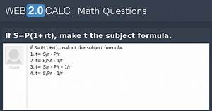 view question if s p 1 rt make t the subject formula