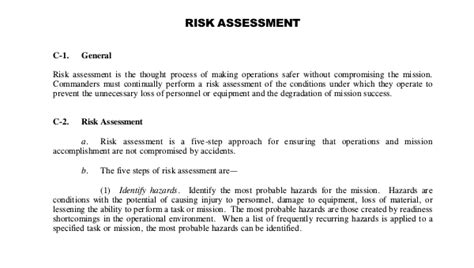 sample army risk assessment forms   documents
