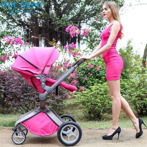 辣妈竹炭纤维婴儿推车高景观婴儿车可坐可躺折叠充气宝宝童车夏季