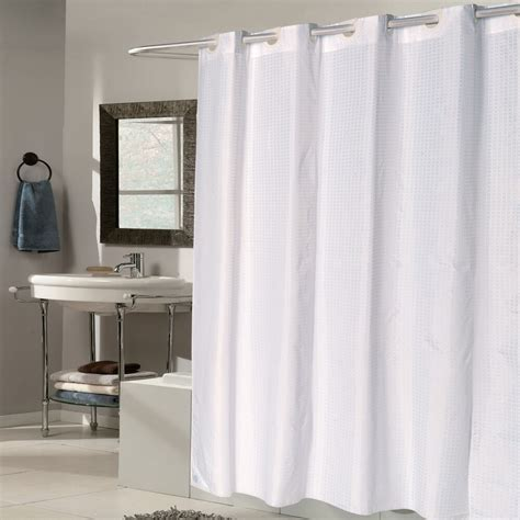 Shower Curtain Drapes by Ez On White Check Fabric 70 Quot X75 Quot Hookless Shower Curtain