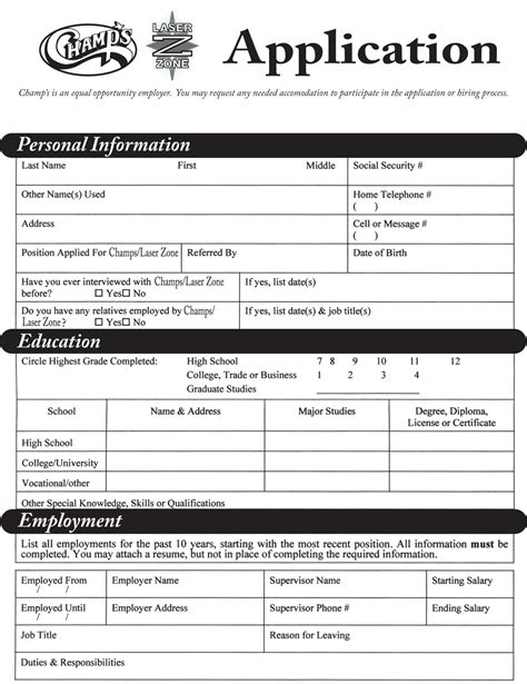 employment application  printable documents