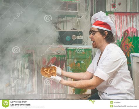 funny baker stock photo image  cook bread funny