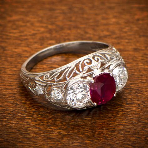ruby engagement ring estate jewelry