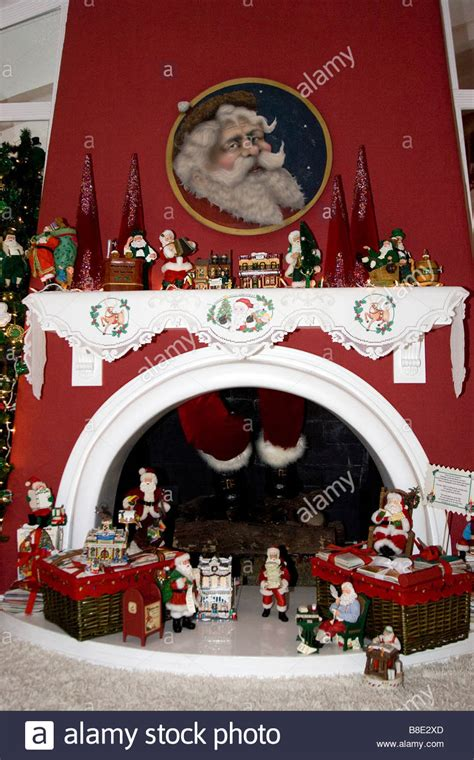 fireplace christmas santa claus chimney stock