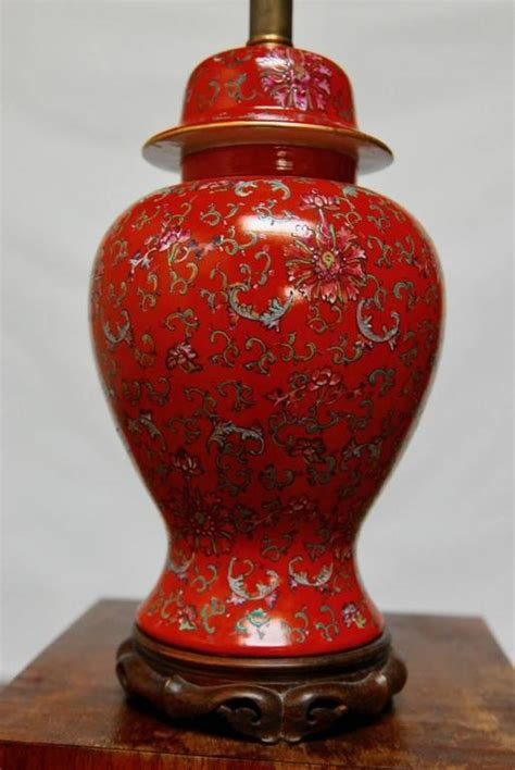chinese red ginger jar table lamp  stdibs